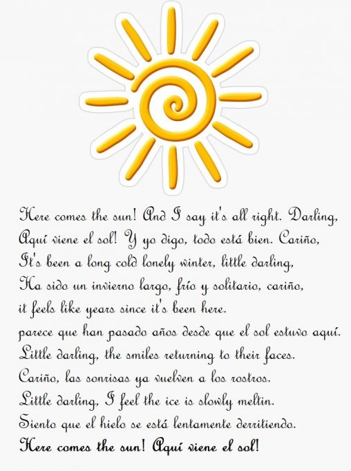 here comes the sun letra